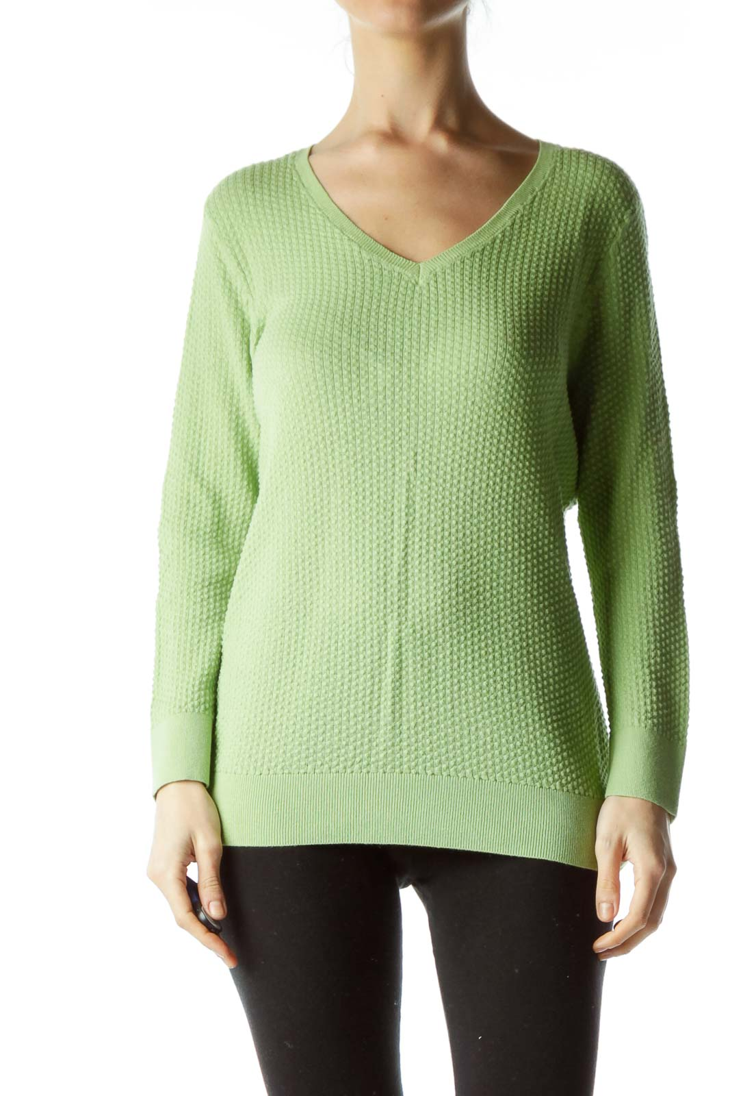 Green Textured Knit Top