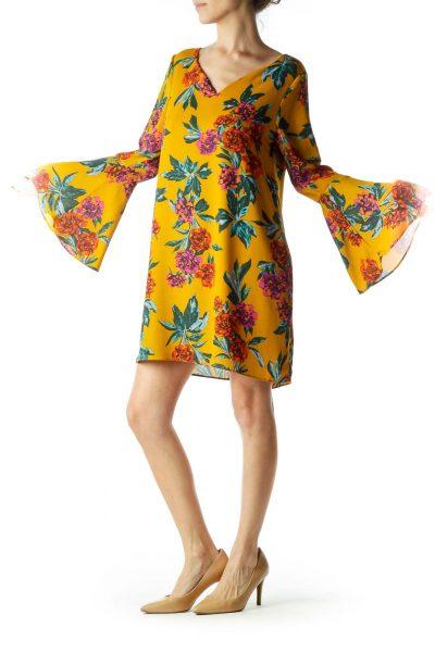 Mustard Yellow Floral Print Shift Dress