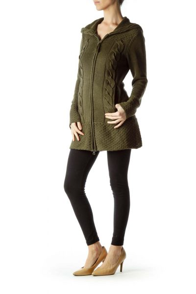 Olive Green Cable Knit Hooded Sweater