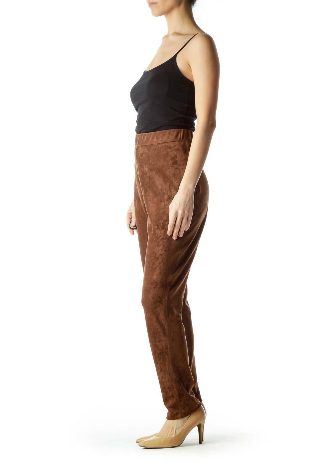 Shop Brown Faux Suede Skinny Pants clothing and handbags at SilkRoll ... f514c729bae43