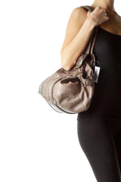 Brown Large Buckle Shoulder Bag