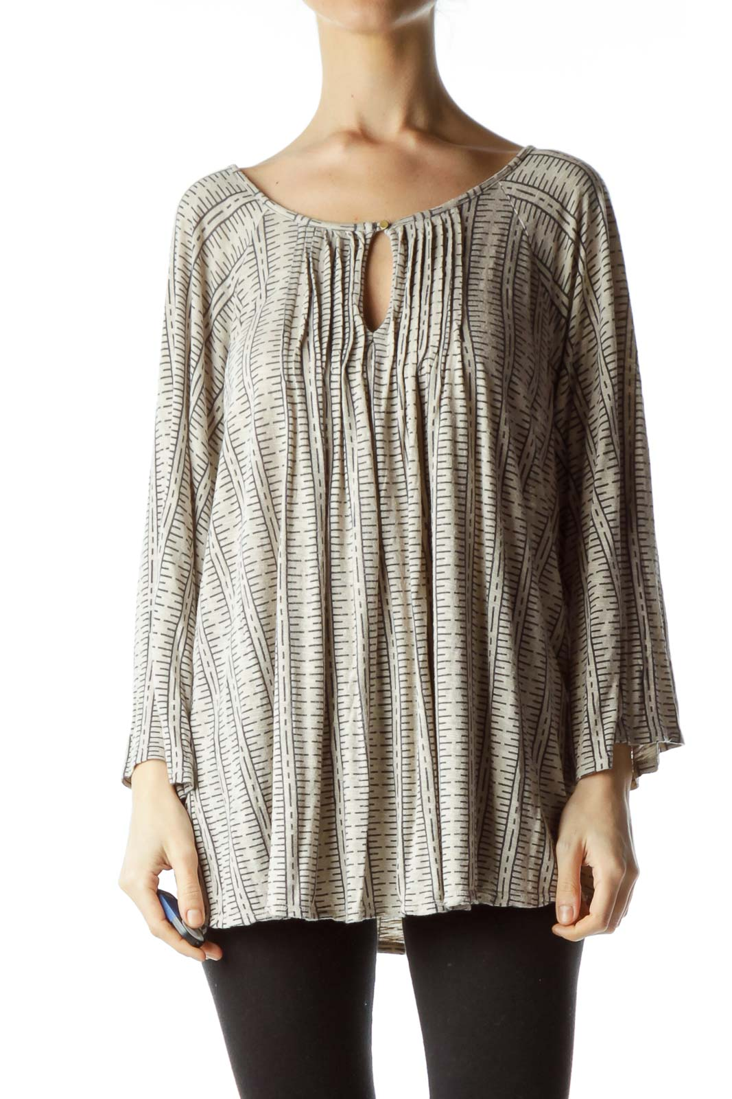 Beige Print Pleated Top