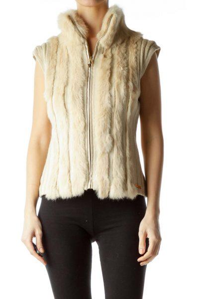Beige Rabbit Fur Knit Vest
