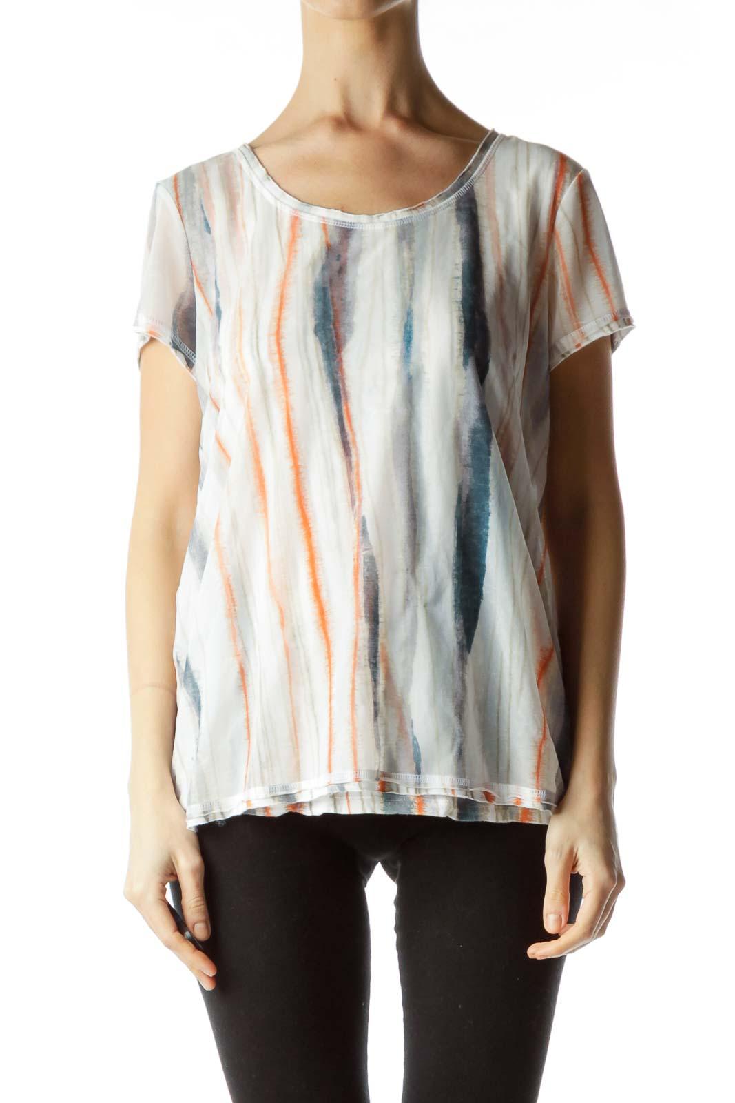 White Teal Printed T Shirt