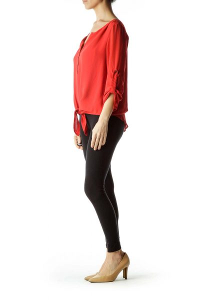 Red 3/4 Sleeve Tie Front Blouse