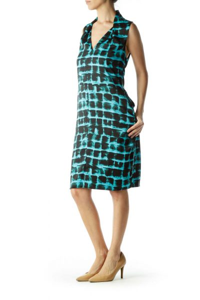 Blue Black Printed V-Neck Work Dress
