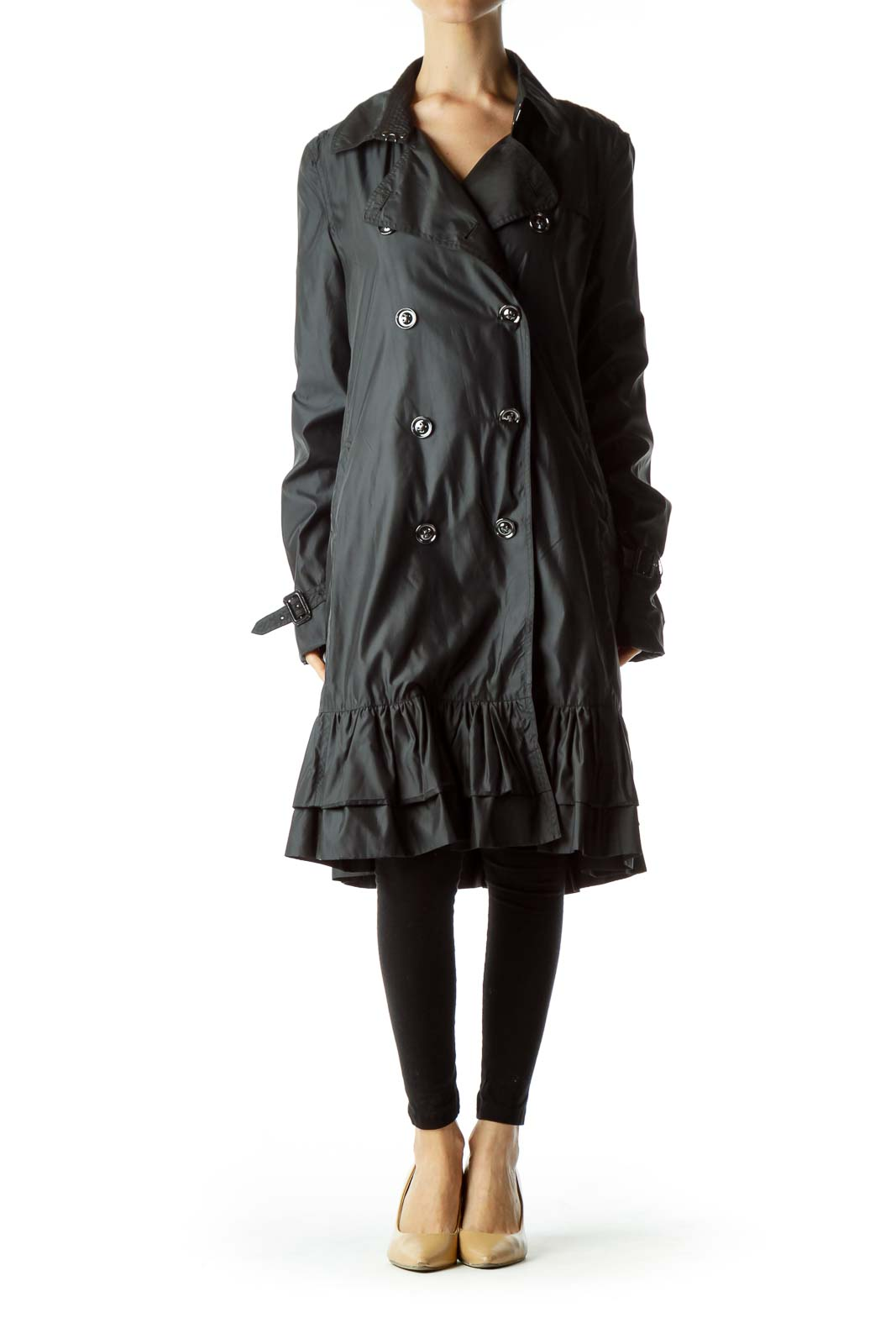 Black Long Single Breasted Trench Coat