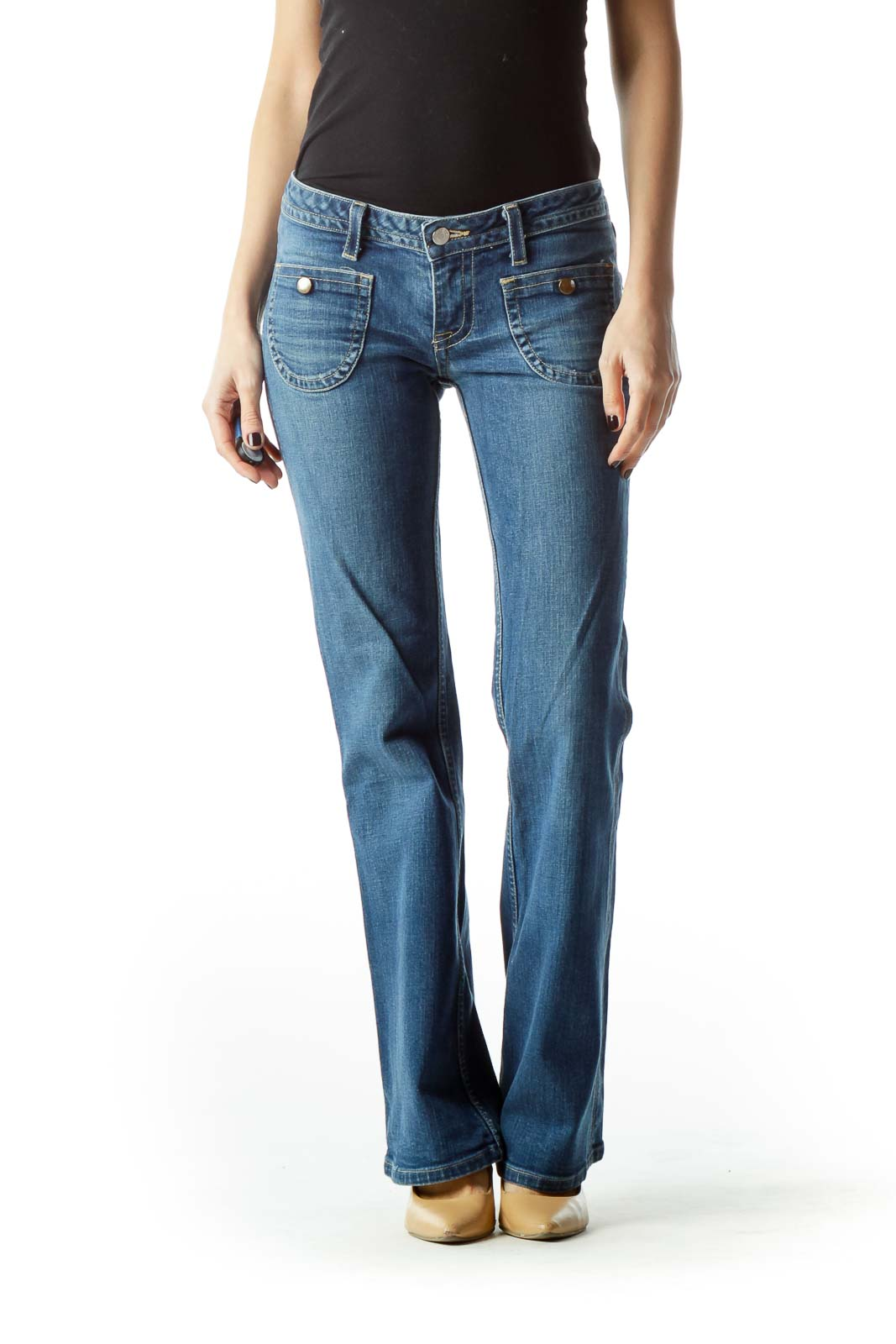 Blue Flared Denim Jeans