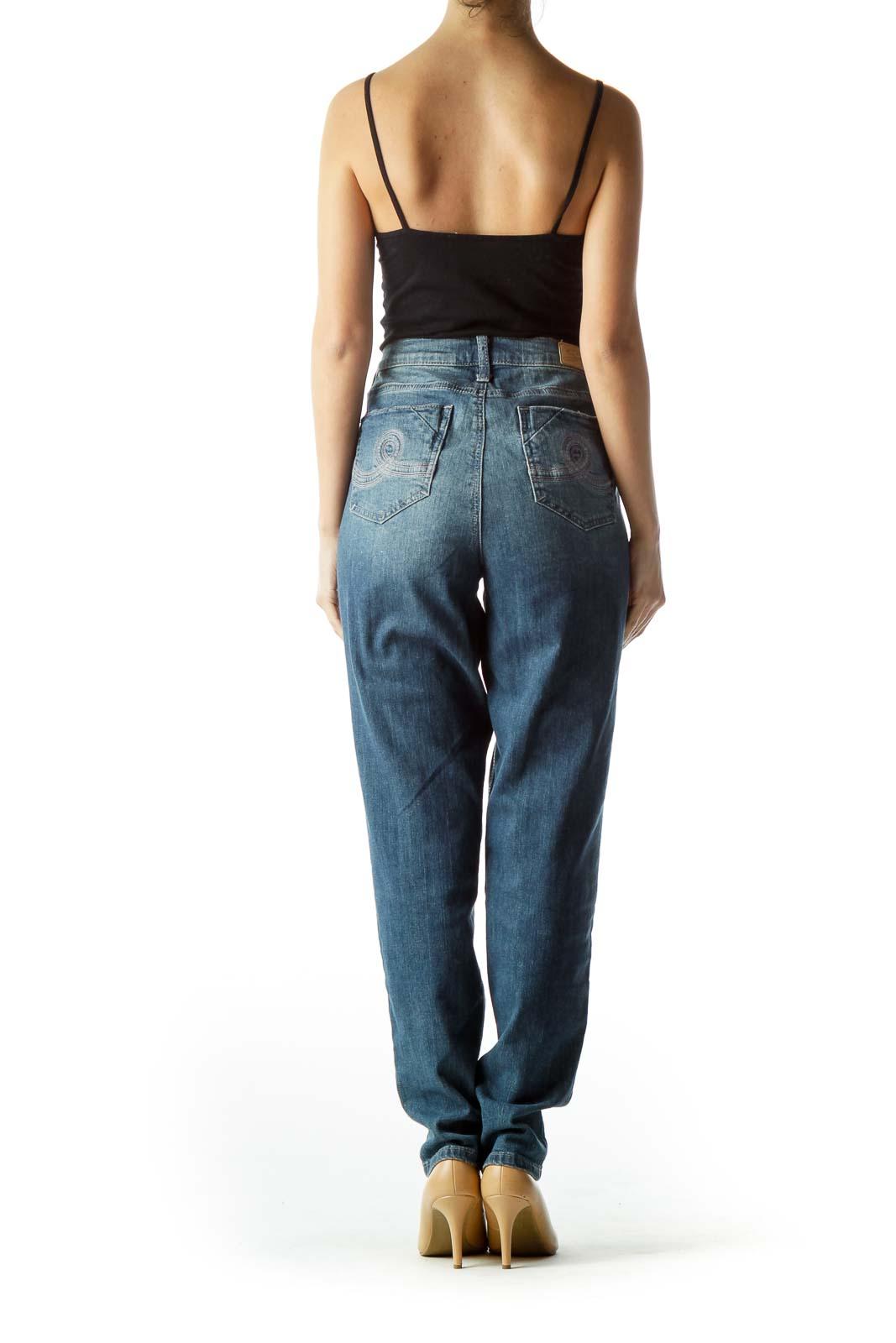 Blue Medium Wash Distressed Denim Jeans