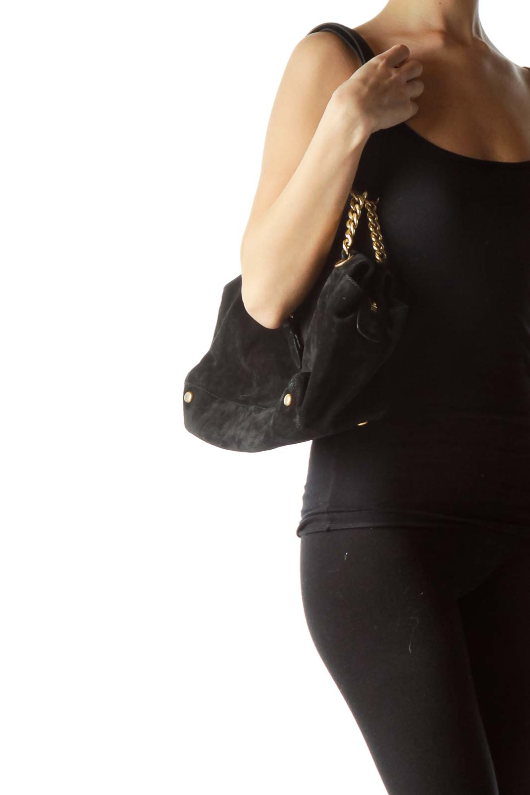 Black Suede Leather Bag with Metal Accents
