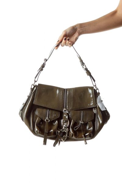 Gray Metal and Zipper Accents Leather Bag
