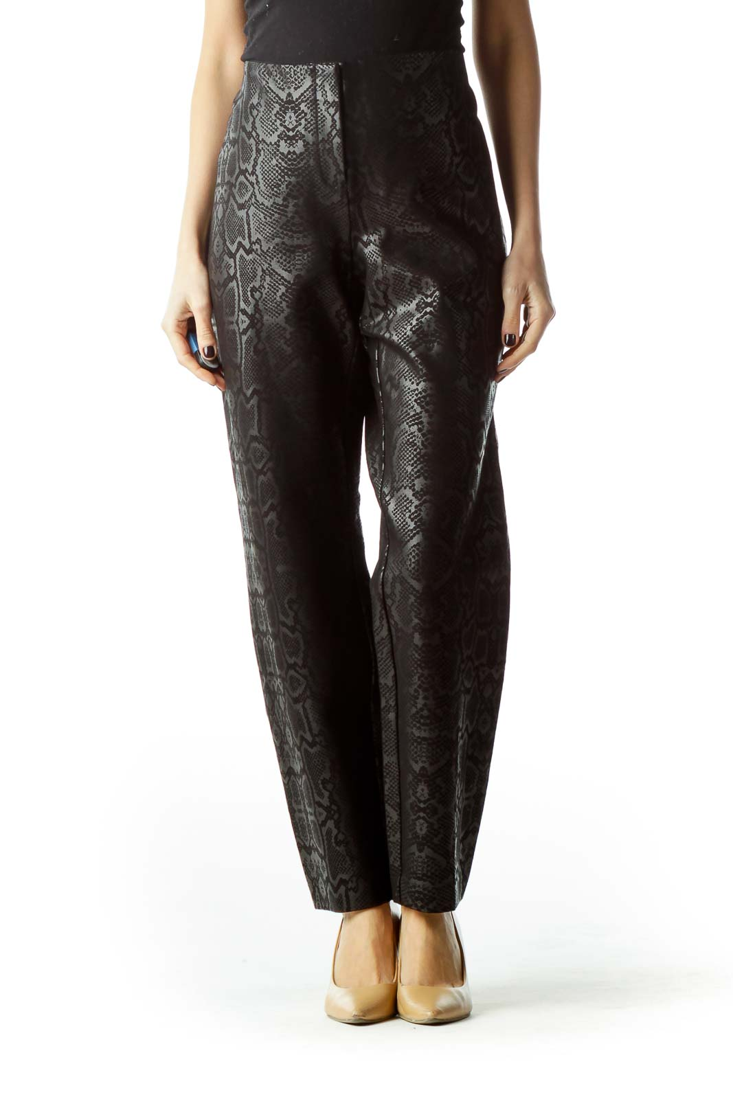 Black Grey Shiny Finish Snakeskin Print Pants