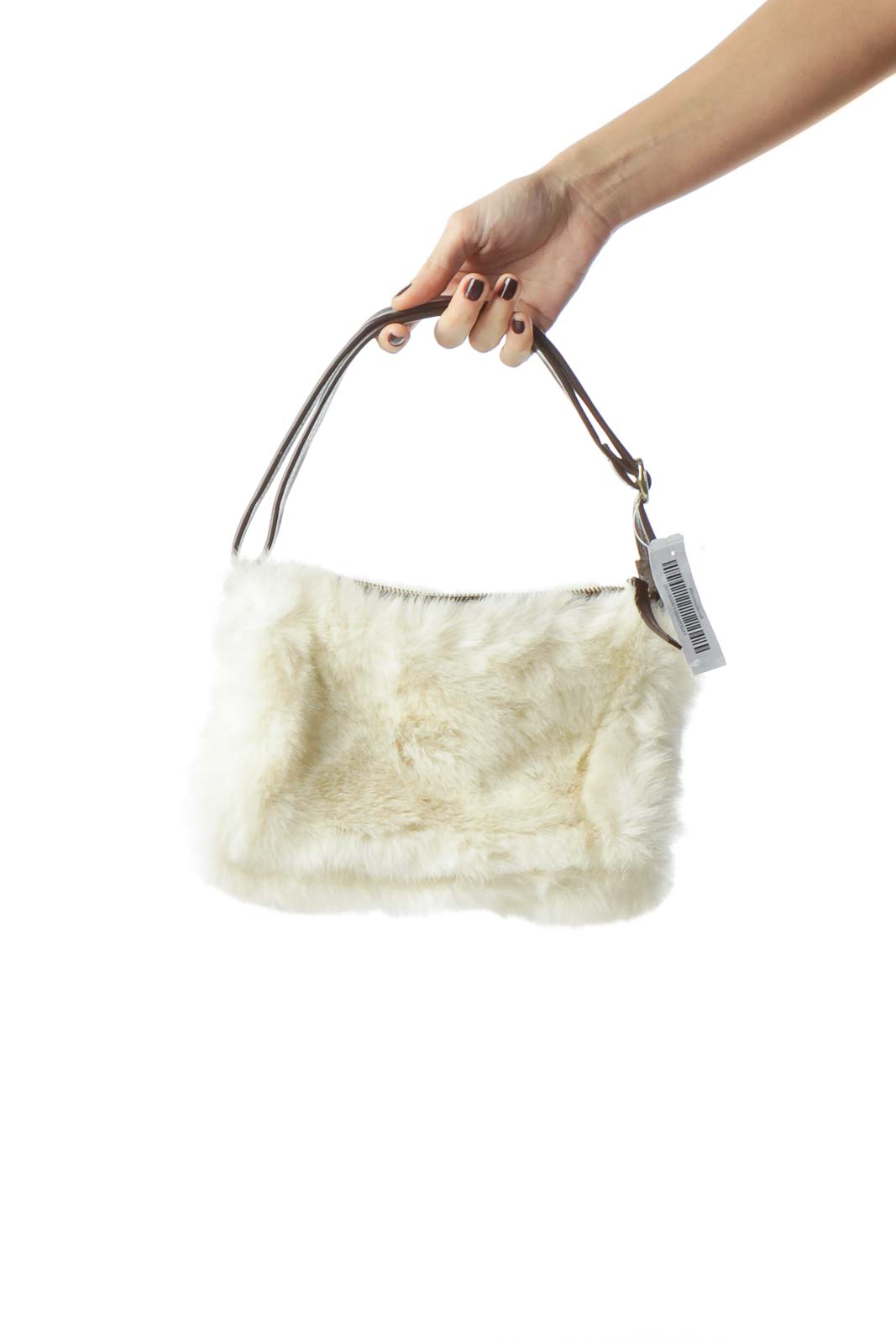 Dark Chocolate Color Cream Fur Shoulder Bag