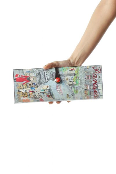 Multicolored Parisian Scene Printed Clutch