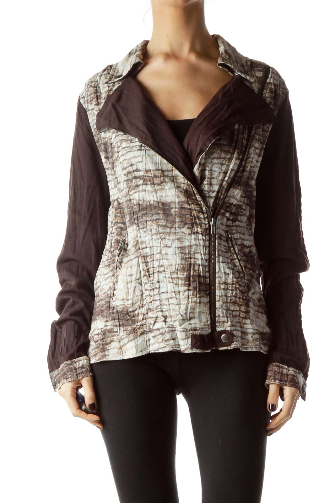Brown Beige Snakeskin Print Jacket