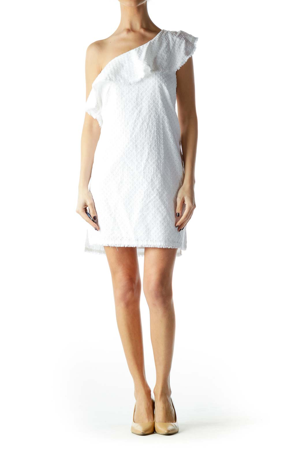White One-Shoulder Knit Dress