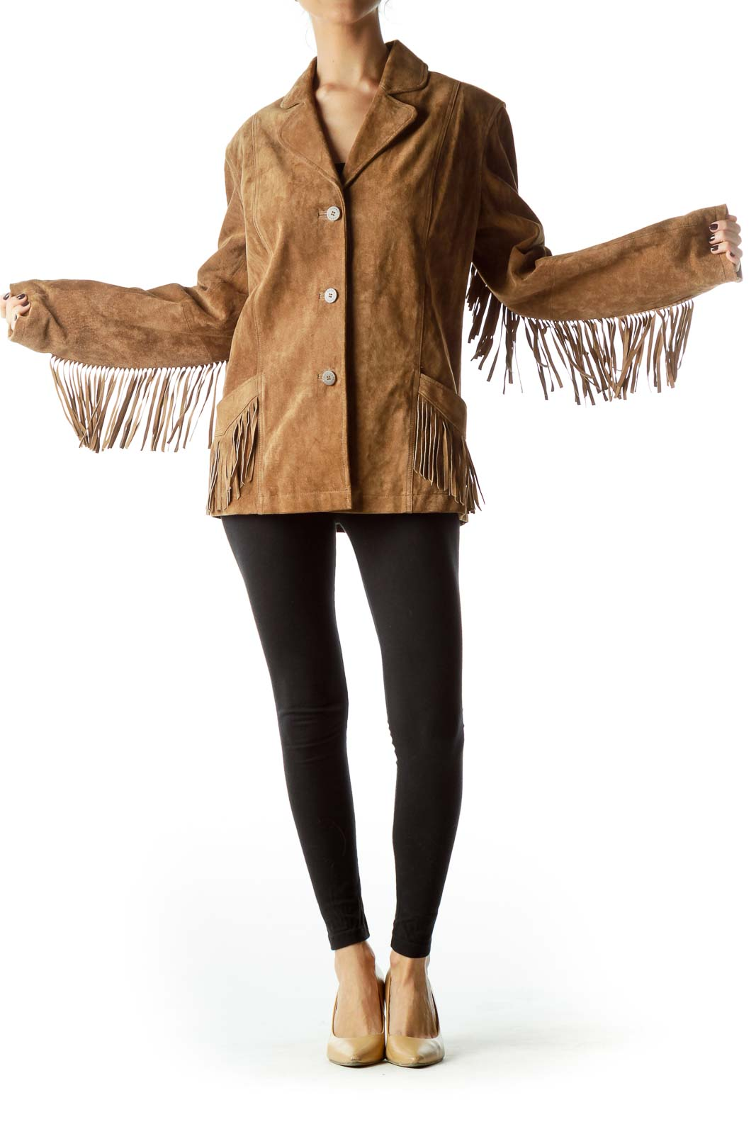 Brown Suede Leather Jacket with Fringe