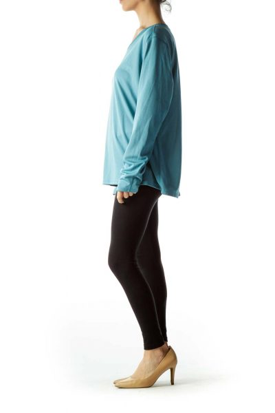 Teal Long Sleeve Stretch Sports Top