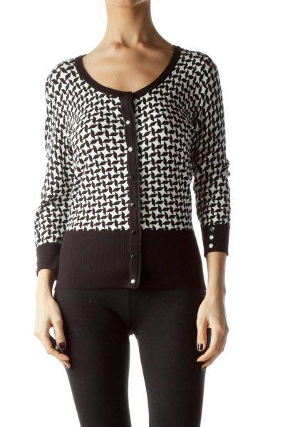 Black White Stars Print Buttoned Sweater