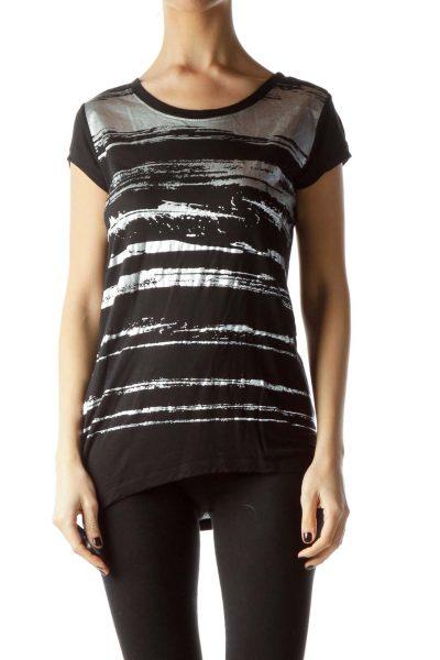 Black Silver Paint Print Short Sleeve T-Shirt
