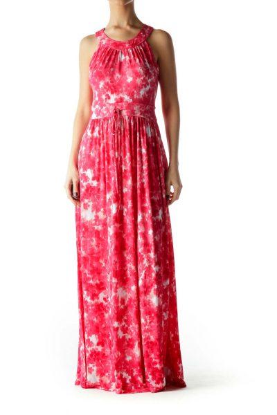 Pink White Print Halter Neck Leg Opening Dress