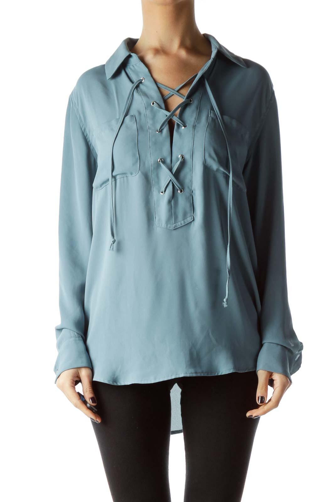 Teal Blue Front Drawstring Long Sleeve Blouse