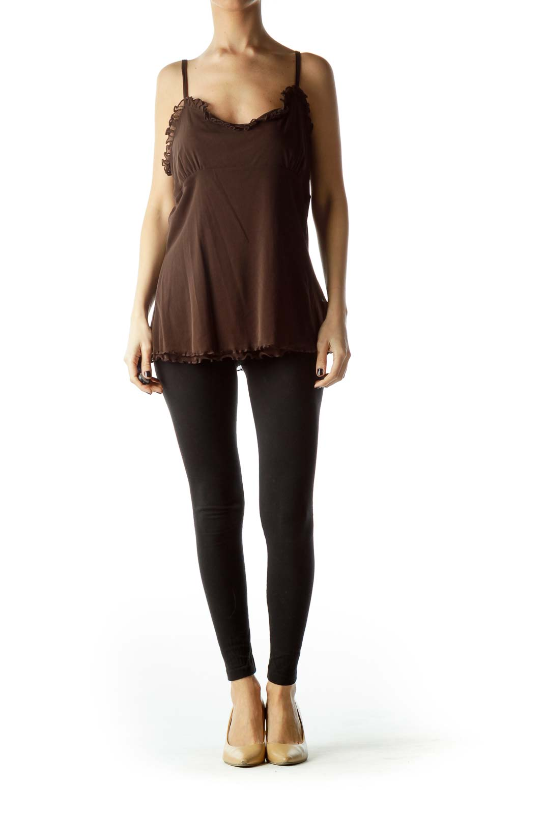 Brown Spaghetti Straps Sheer Top with Ruching