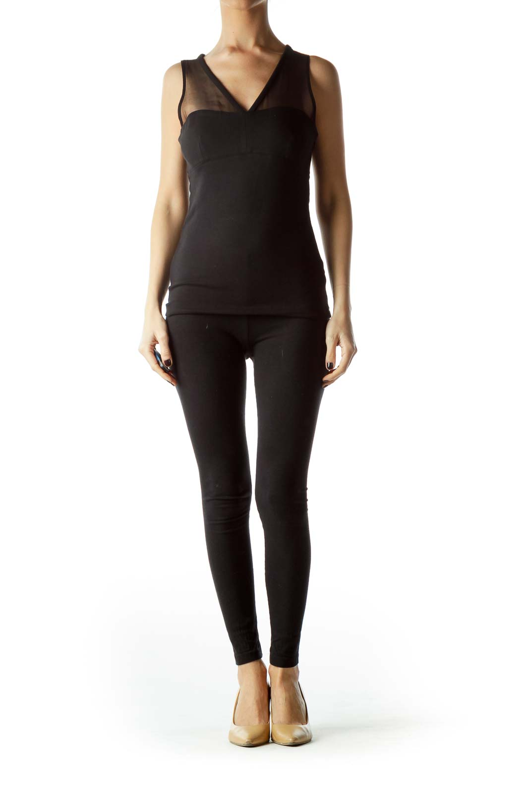 Black Upper Sheer Fitted Top
