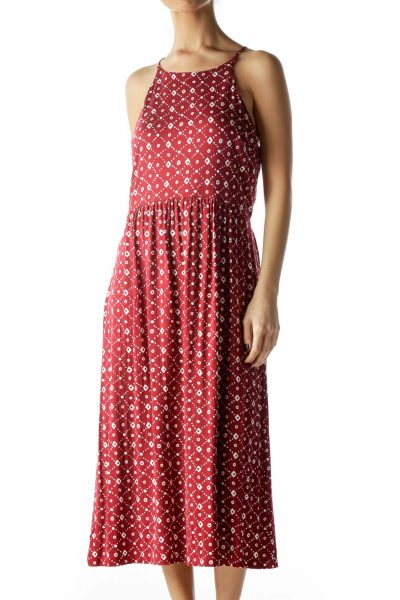 Red White Print Halter Neckline Jersey Dress