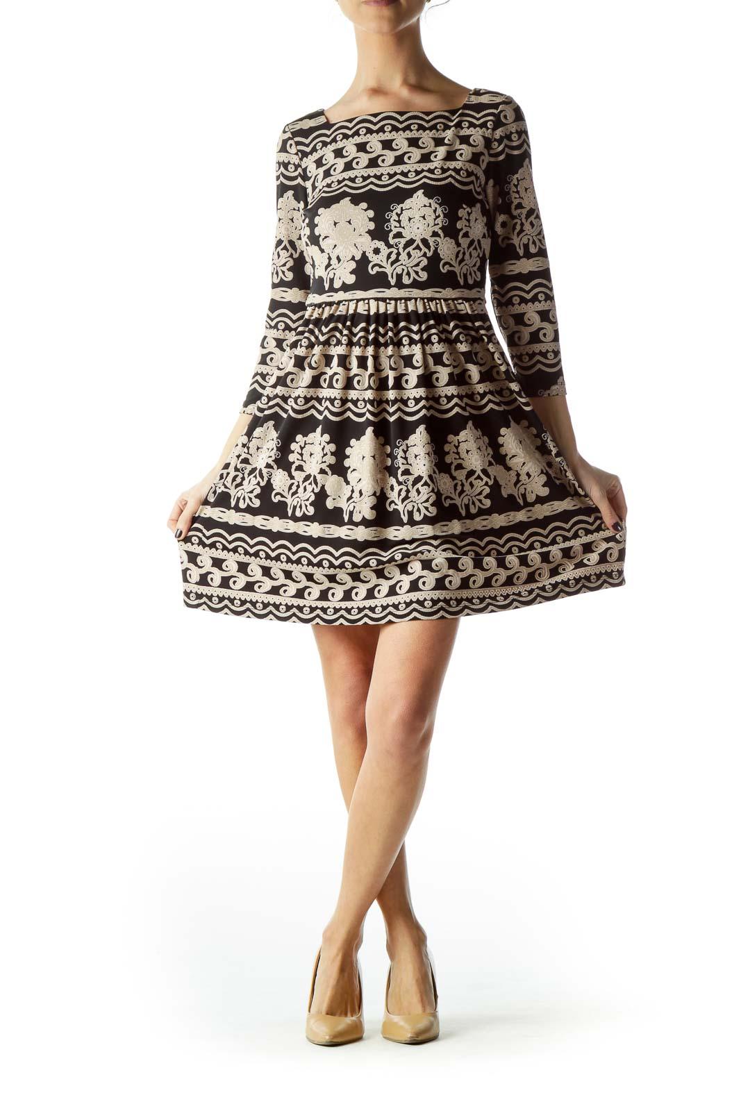 Black Beige Print 3/4 Sleeve Dress