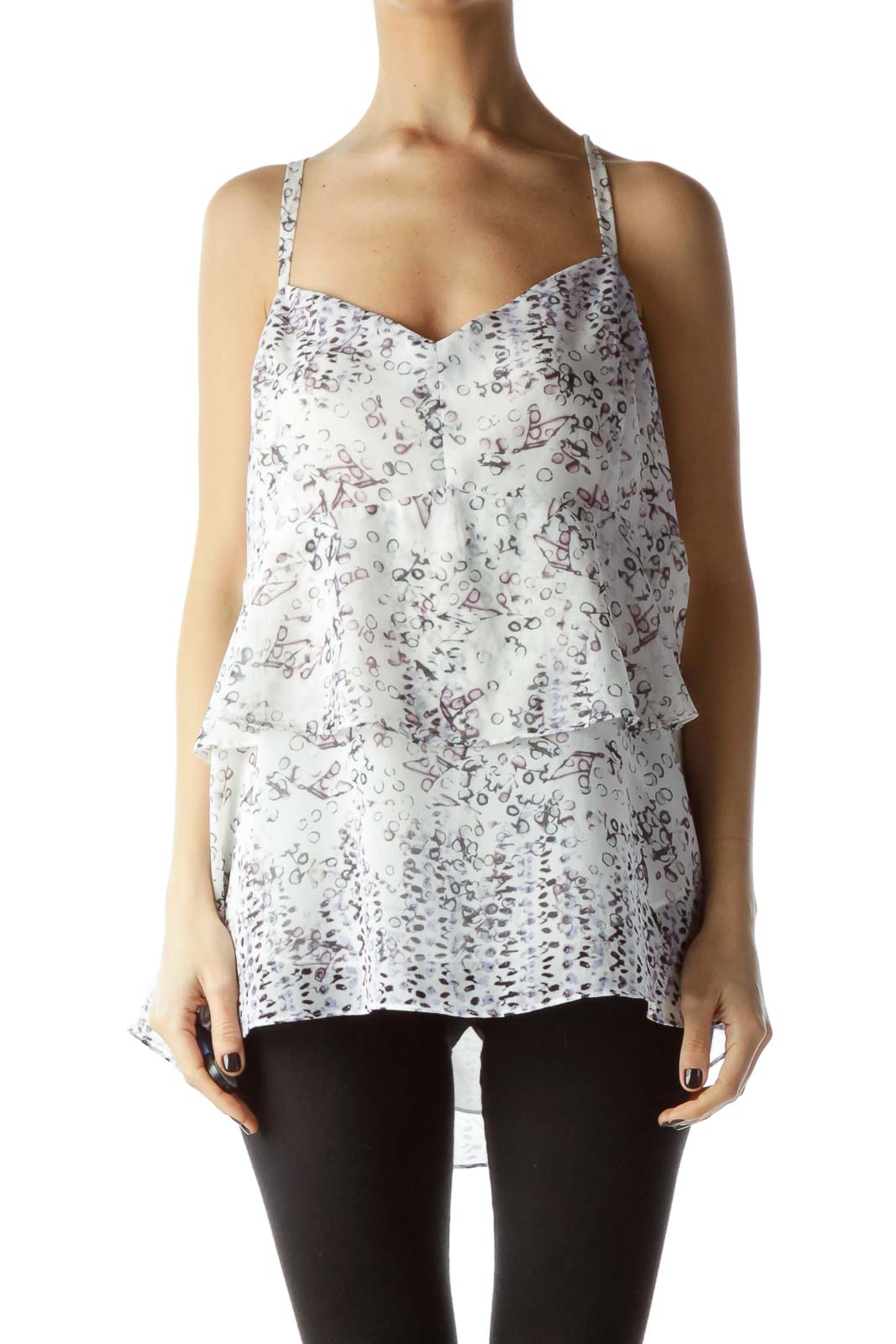 White Gray Purple Print Flared Top