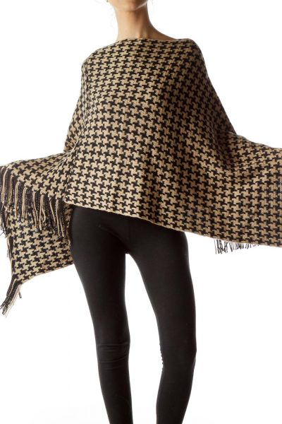 Black Beige Houndstooth Knitted Poncho