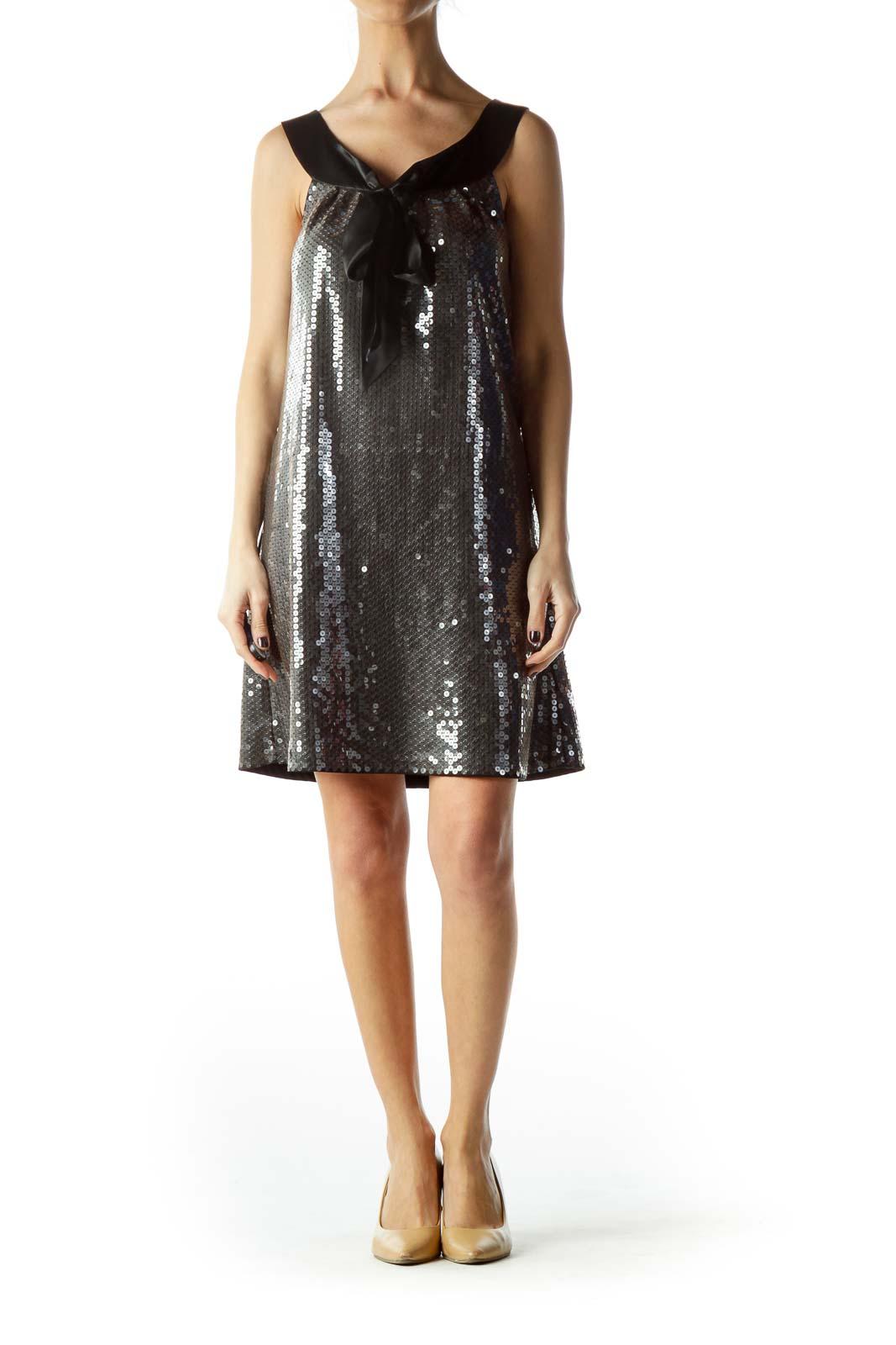 Silver Black Ribbon Neckline Cocktail Dress