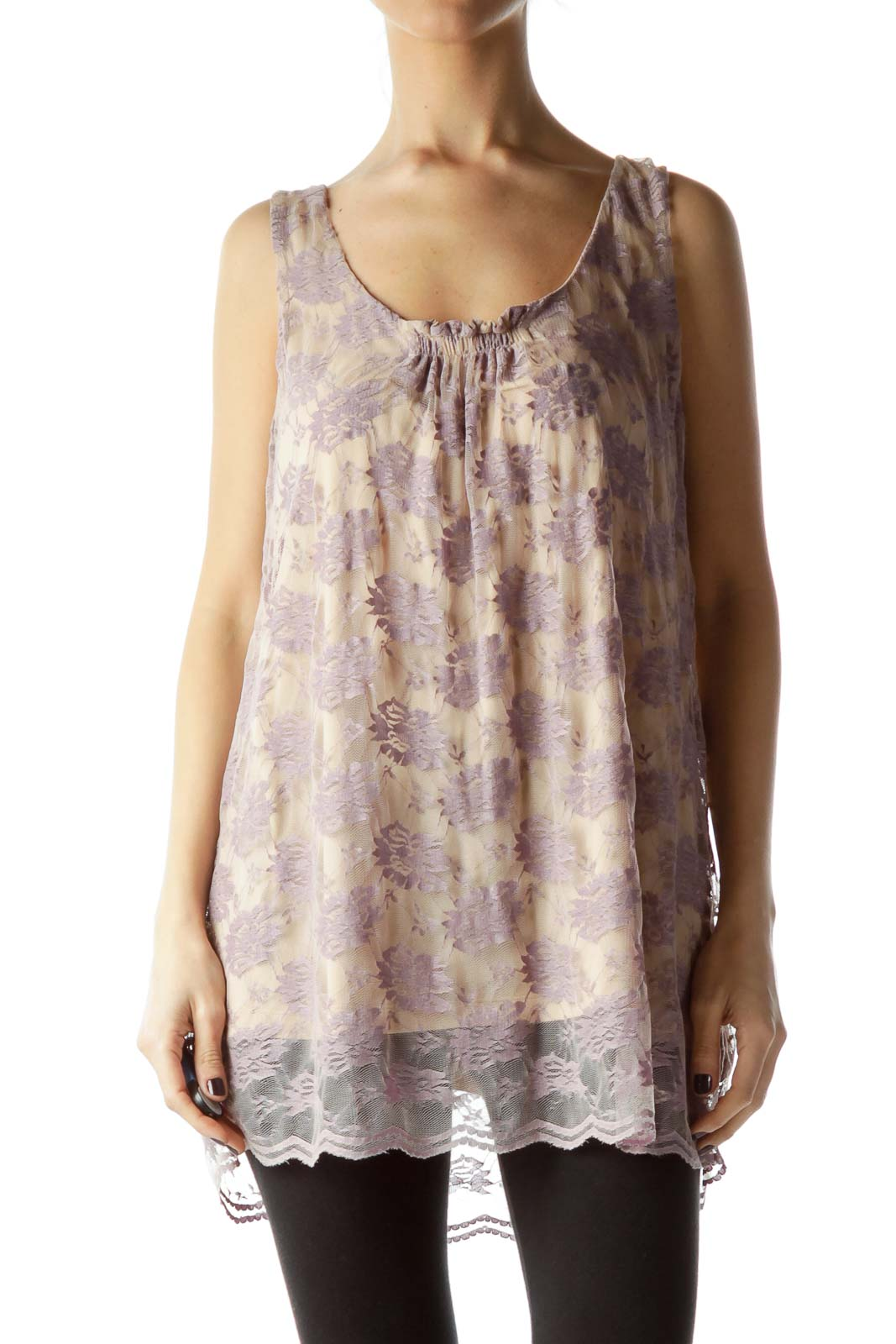 Beige Purple Lace Sleeveless Top