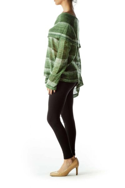 Green Cowl Neck Striped Knitted Sweater
