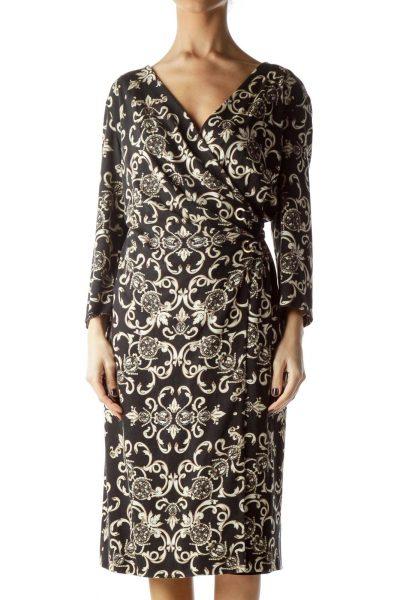Black Cream and Gold Print Wrap Dress