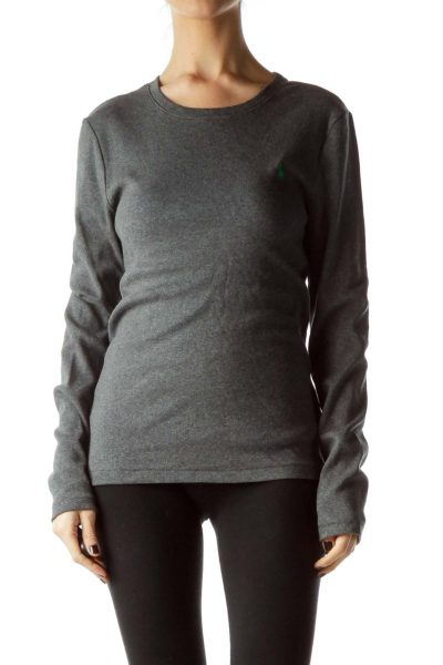 Gray 100% Cotton Long Sleeve Sweater