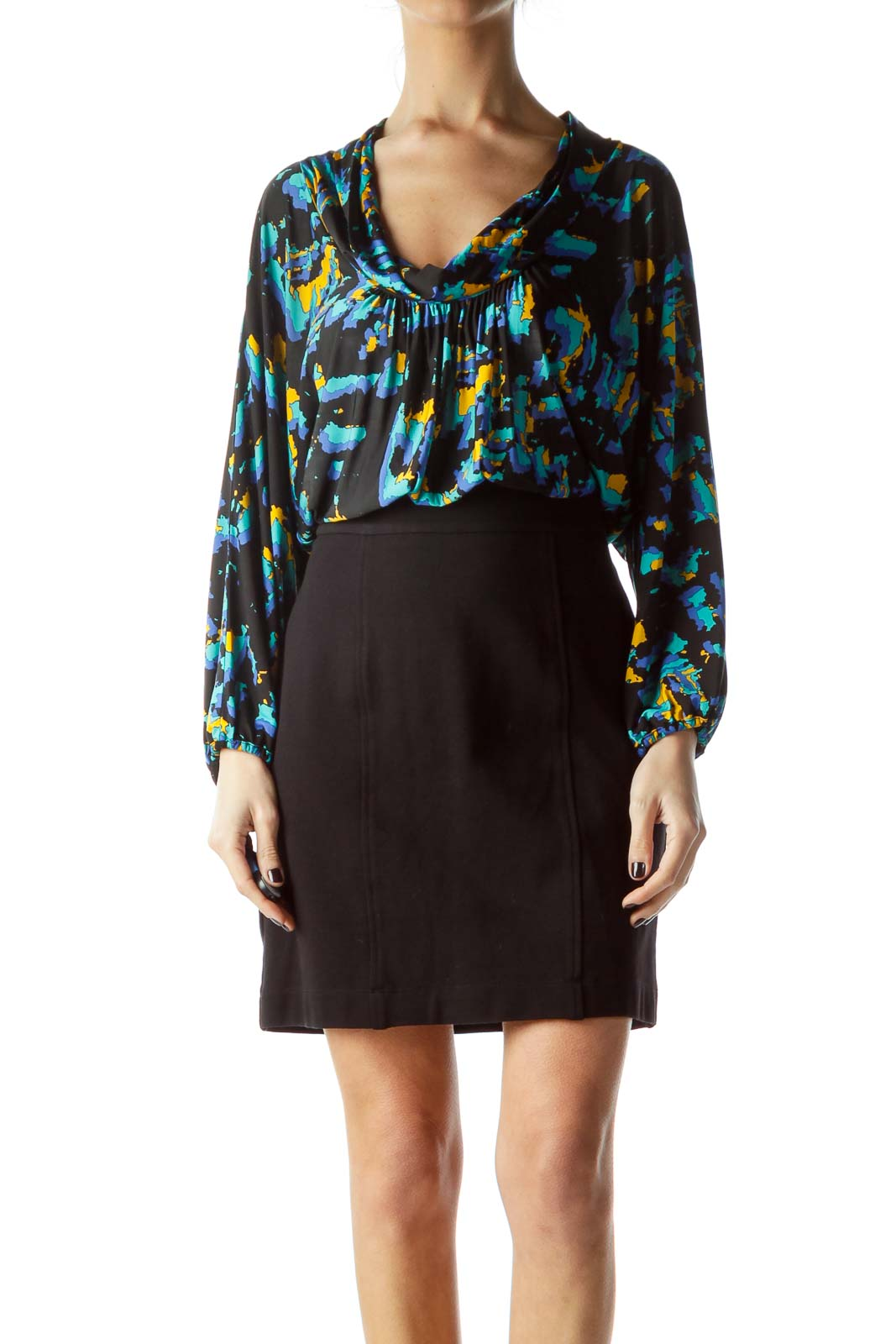 Black Bottom Yellow Blue Print Work Dress