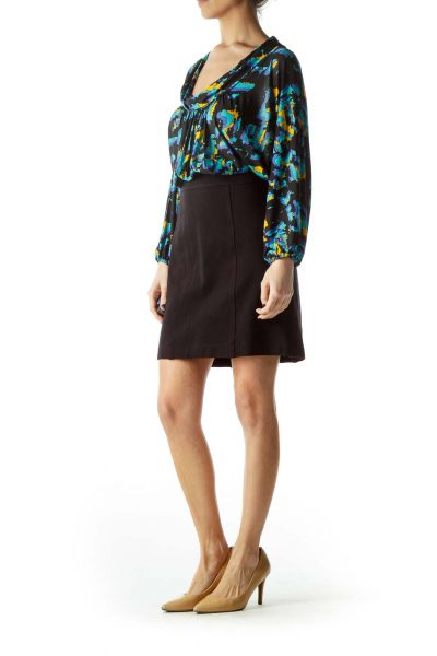Black Bottom Yellow Blue Print Work Dress