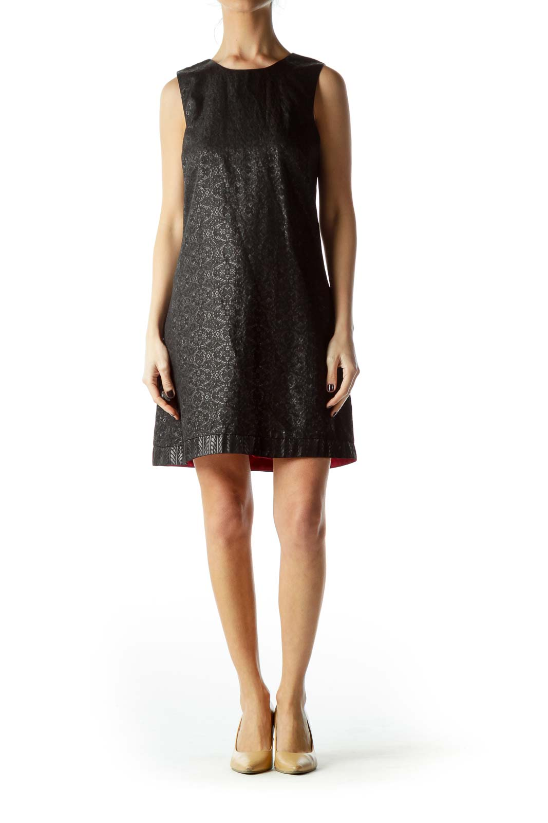 Black Metallic Texture Cocktail Dress