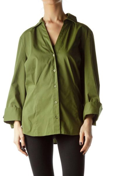 Army Green Long Sleeve Collared Shirt