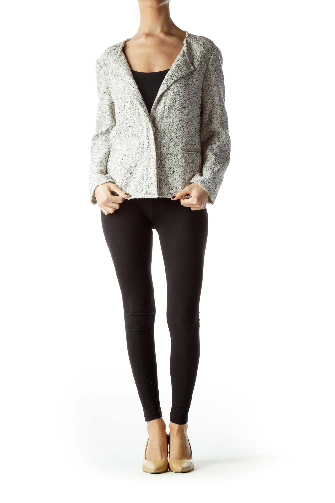 Cream Black V-Neck Textured Blazer