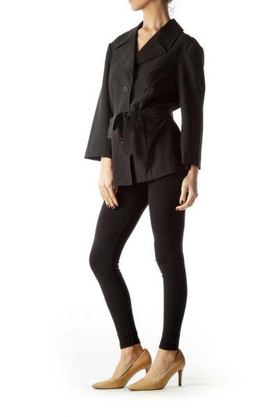 Black Buttoned Belted 3/4 Sleeve Light Blazer
