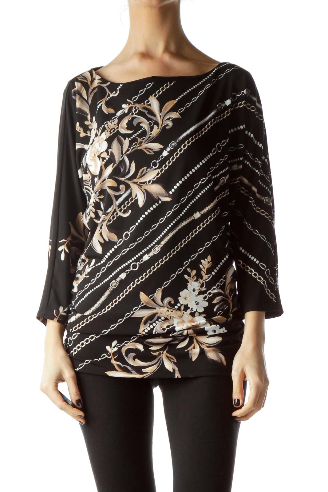 Black Beige White Floral and Chain Print Top