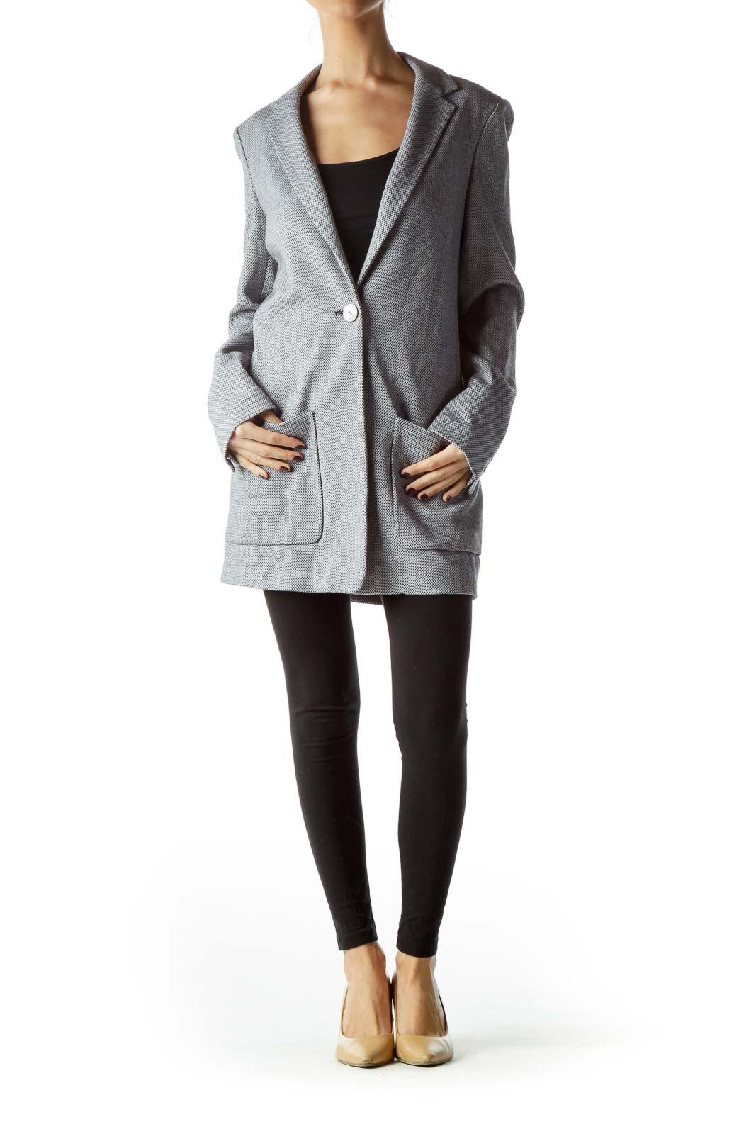 Gray Textured 100% Cotton Long Blazer