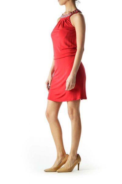 Red Neck Metallic Chain Detail Dress