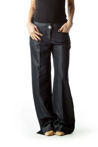 Dark Blue Metallic Buttons Pants