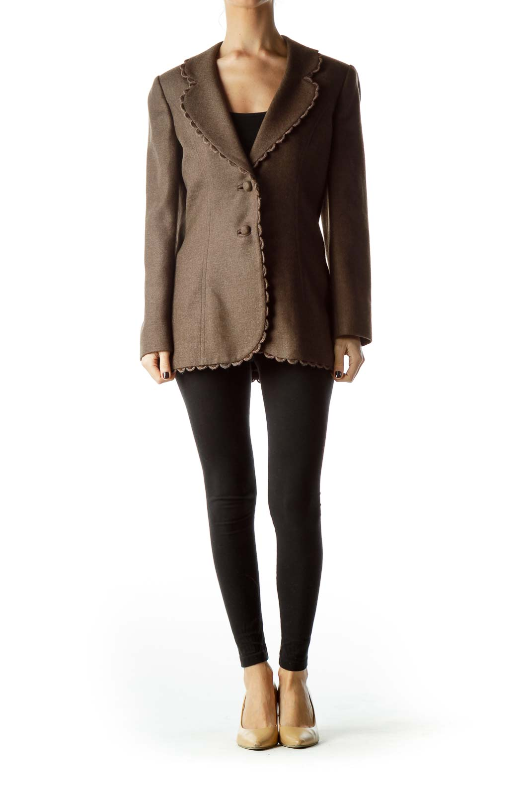 Brown Collared Buttoned Tweed Jacket