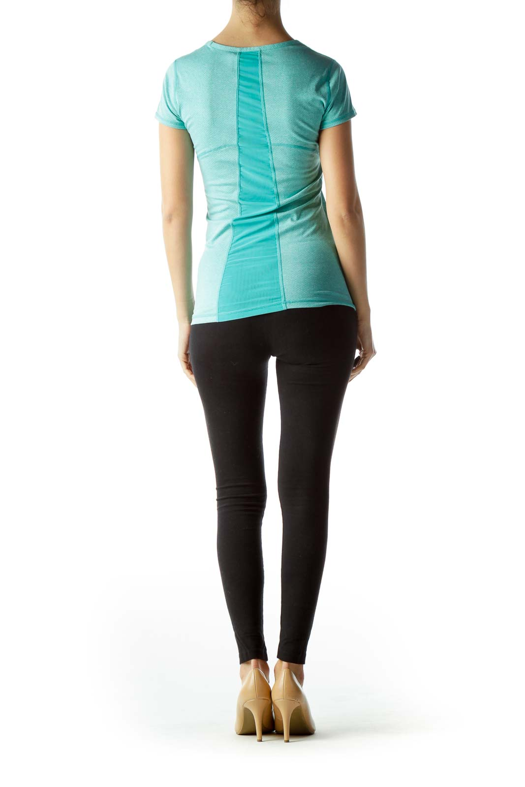 Teal Blue Short Sleeve Stretchy Sports Top