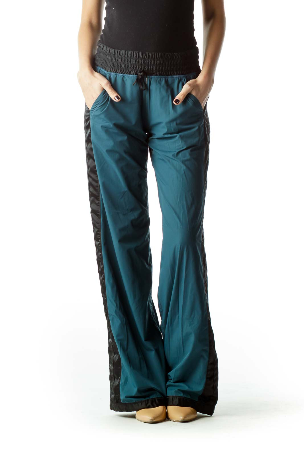 Blue Black Sports Pants with Drawstring